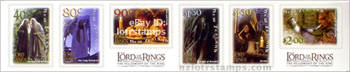 6 self adhesive stamps with official LotR: Fellowship of the Ring logos