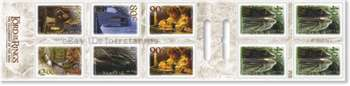 Inside booklet showing 4 x 40c, 2 x 90c, 80c, $1.30, $1.50 and $2.00 self-adhesive stamps