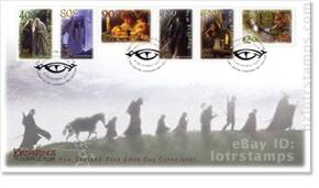 First day cover with six self adhesive stamps and December 4, 2001 cancellation postmarks