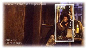 1.50 dollar stamp design: Aragorn watches over the hobbits in the Inn of the Prancing Pony