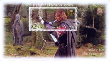 2.00 dollar stamp design: Boromir calls The Fellowship to arms with the ancient Horn of Gondor