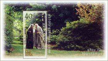 40 cent stamp design: Gandalf tells Saruman that the centuries long lost One Ring is found