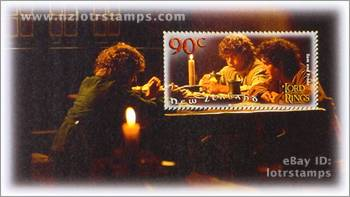 90 cent stamp design: Frodo and friends enjoy light refreshment at the Inn of the Prancing Pony, Bree