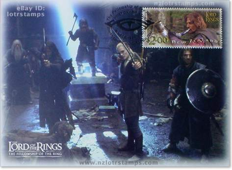 2.00 dollar postcard design: trapped deep within the Mines of Moria, The Fellowship make a defiant stand