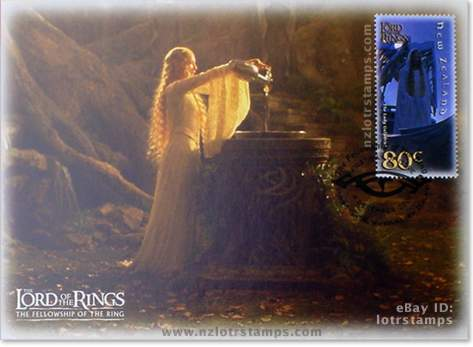 80 cent postcard design: the iconic Galadriel is the one figure who truly tests Frodo