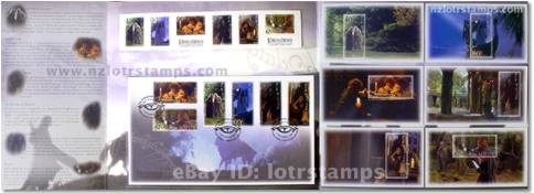 Inside presentation pack showing first day cover, self-adhesive stamps and miniature stamp sheets