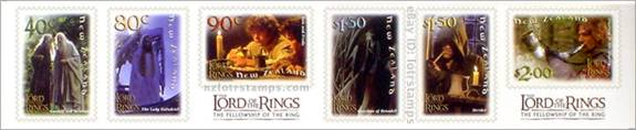 Set of six self adhesive stamps with official LotR: Fellowship logos