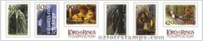 Strip of self adhesive stamps with official LotR: Fellowship of the Ring logos