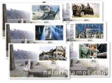 Eowyn on steps of Meduseld first day cover with Frodo miniature sheet and Dec. 4, 2002 cancellation postmark