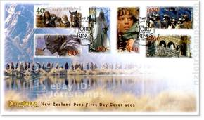 First day cover with six gummed stamps and December 4, 2002 cancellation postmarks