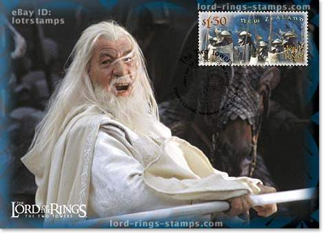 1.30 dollar postcard design: Gandalf the White in battle
