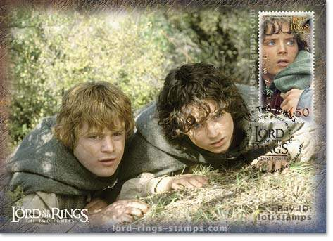 1.50 dollar postcard design: Frodo and Sam watch Faramir fight some Haradrim