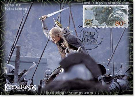 80 cent postcard design: Legolas fights a horde of Uruk-Hai