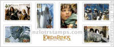 Set of six self adhesive stamps with official LotR: Two Towers logos