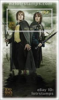 90 cent stamp: Merry and Pippin at Isengard after the flood