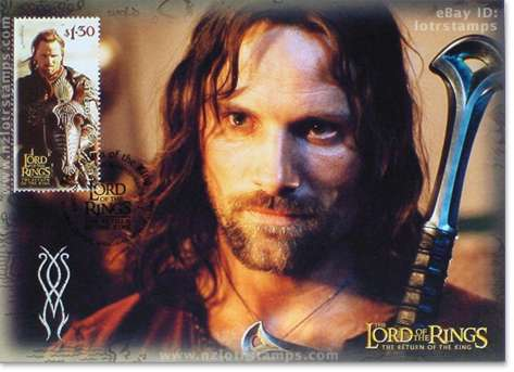 1.30 dollar postcard design: Aragorn accepts mantle of King Elessar