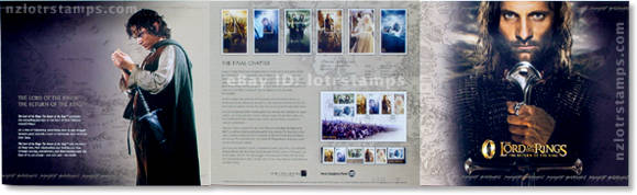 Cover of presentation pack has info on first day cover, self-adhesive stamps, miniature stamp sheets and the film production