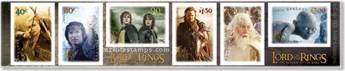 Set of six self adhesive stamps with official LotR: Return of the King logos